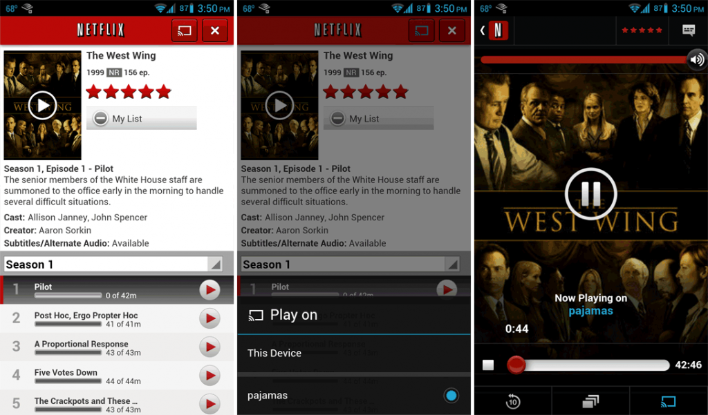 "Using Chromecast on Android. From left to right: Netflix's browsing interface with the new ""Cast"" icon near the top right; the ""Cast"" selection screen; and the remote control interface."