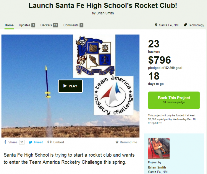 Launch Santa Fe High School's Rocket Club!