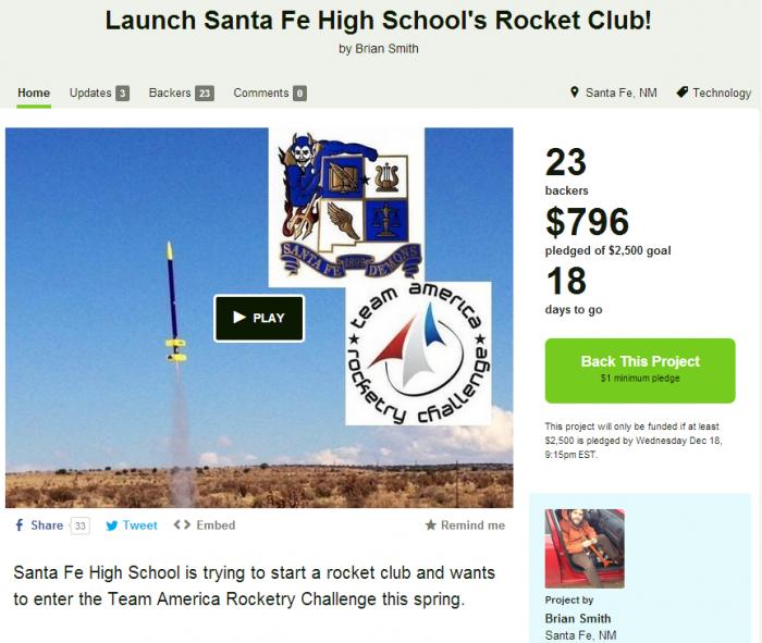 Launch Santa Fe High School's Rocket Club!