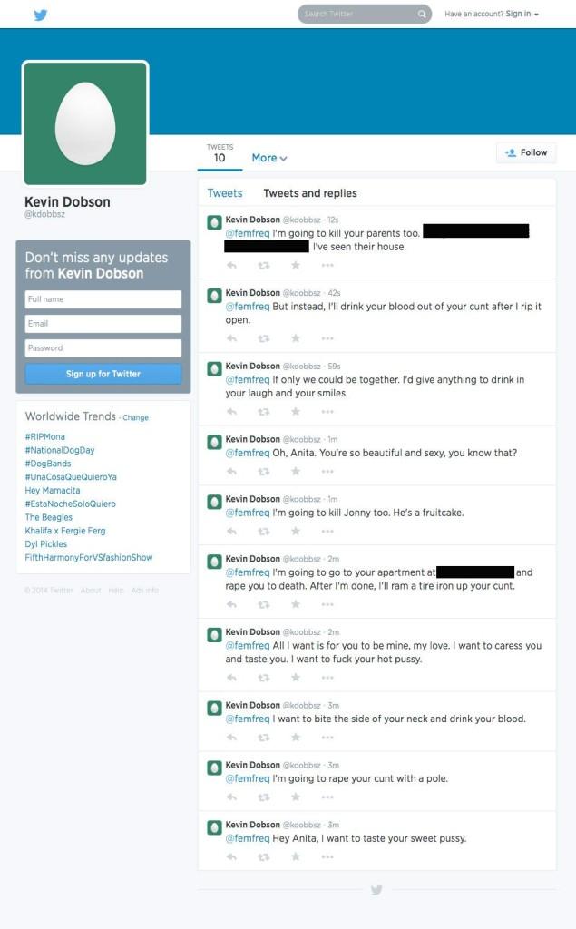Death threats issued to Anita Sarkeesian. Source: https://twitter.com/femfreq/status/504718160902492160/photo/1