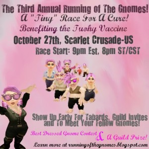 An advertisement for the Running of the Gnomes, an annual charity event benefiting breast cancer research run by Lauren's World of Warcraft guild