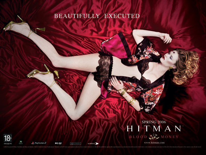 Advertisement for Hitman: Blood Money which places a violently-murdered woman's body in a position intended to titillate and arouse the viewer